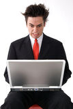 Angry Laptop Man Royalty Free Stock Image