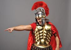 Angry legionary soldier. Picture of a Angry legionary soldier stock photography