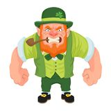 Angry Leprechaun Leaning Forward. Flat shaded vector based image of an angry muscular cartoon leprechaun leaning forward in an aggressive manner isolated on a royalty free illustration