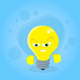 Angry Light Yellow Bulb Face Cartoon Character Royalty Free Stock Image