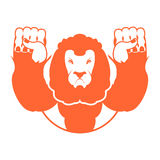 Angry lion. Aggressive wild beast. Logo big leo. Evil wild anima. L. Emblemo for sports team Stock Images