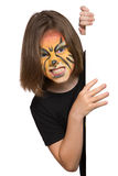 Angry lion banner. Banner of girl with face paint of lion Stock Images