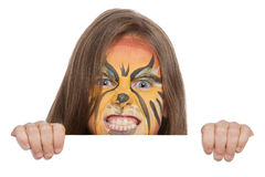 Angry lion banner. Banner of girl with face paint of lion Stock Image