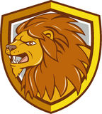 Angry Lion Head Roar Shield Cartoon Stock Photo