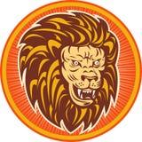 Angry lion head set inside circle Stock Photos