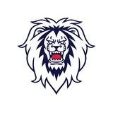 Angry Lion Roaring Vector Logo Mascot Design Illustration. Template Stock Image