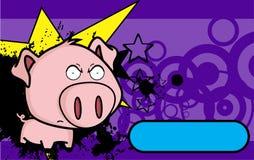 Angry little big head pig cartoon background Stock Photos