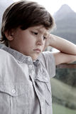 Angry little boy after fight with parents Royalty Free Stock Photos