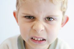 Angry little boy. Looks straight to camera royalty free stock image