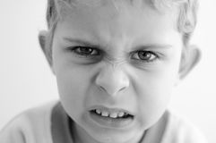Angry little boy royalty free stock photos