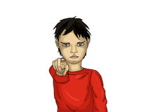 Angry little boy points a finger at you. Child points his finger Stock Image
