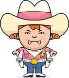 Angry Little Cowgirl. A cartoon illustration of a little cowgirl looking angry Stock Image