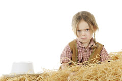 Angry Little Cowgirl Royalty Free Stock Photography