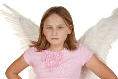 Angry little fairy angel girl Royalty Free Stock Photo