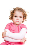 Angry little girl. Little girl is angry on white background Stock Photo