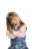 The angry little girl. On a white background Royalty Free Stock Photos