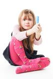 Angry little girl with chalk Stock Photography