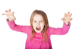 Angry little girl growls. Isolated on white background Stock Images