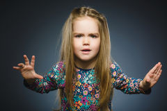 Free Angry Little Girl Isolated On Gray Background. Royalty Free Stock Images - 94633579