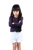 Angry little girl. Isolated over white Royalty Free Stock Image
