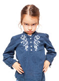 Angry Little Girl Isolated Royalty Free Stock Photos