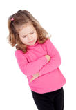 Angry little girl in pink Stock Photo