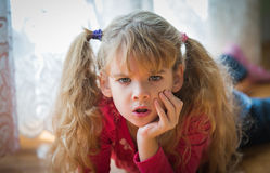 Angry little girl. Portrait of angry little girl Royalty Free Stock Image