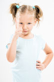 Angry little girl scolding Stock Images