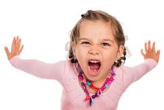 Angry Little Girl. Is Screaming royalty free stock photo