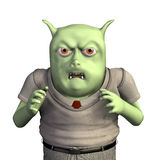 Angry Little Monster. A very angry little green monster - 3d render Royalty Free Stock Photos