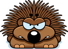 Angry Little Porcupine. A cartoon illustration of a little porcupine with an angry expression stock illustration