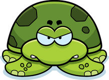 Angry Little Sea Turtle. A cartoon illustration of a little sea turtle with an angry expression stock illustration
