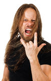 Angry long hair man screaming Royalty Free Stock Photo
