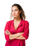 Angry looking brunette woman. Stock Photos
