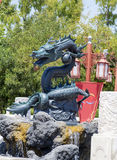 Angry looking full-size green  Lego dragon at Port Aventura amusement park,Spain Royalty Free Stock Photos