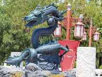 Angry looking full-size green  Lego dragon at Port Aventura amusement park,Spain Stock Images