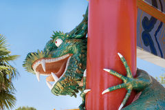 Angry looking  green  Lego dragon at Port Aventura amusement park,Spain Stock Images