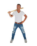 Angry looking man with bat Stock Image