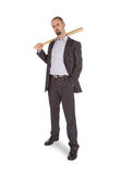 Angry looking man with bat Royalty Free Stock Photo