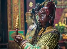 Ancient Chinese Warrior in Kwan Tai Temple royalty free stock photography