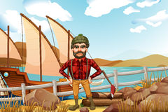 An angry lumberjack near the ship Royalty Free Stock Images