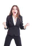 Angry mad business woman yelling and shouting crazy showing rage Royalty Free Stock Image
