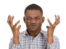 Angry mad man with raised hands Royalty Free Stock Photo