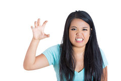 Angry mad woman showing her claws Royalty Free Stock Images