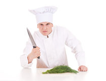 Angry male cook with knife Stock Image