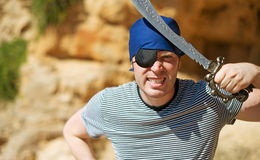 Angry male pirate. Royalty Free Stock Images