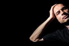 angry man Το και ματαιωμένο άτομο έκλινε το κεφάλι του σε ετοιμότητα του Στοκ Εικόνες
