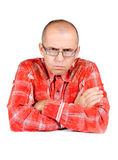 Angry man. With eyeglasses isolated on white background Royalty Free Stock Photos