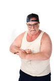 Angry man. Angry large man in tee shirt on white background Royalty Free Stock Photos