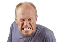 Angry man. On a white background Stock Photos
